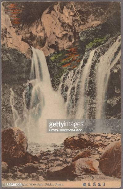 Illustrated postcard of water falling over rocky ledges at Urami Waterfall Nikko National Park Kanto region Japan 1915 From the New York Public...