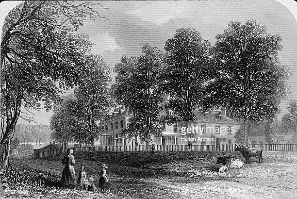 Illustrated print of Philipse Manor Hall the estate commissioned by Dutch merchant and landholder Frederick Philipse Yonkers New York late 1600s The...