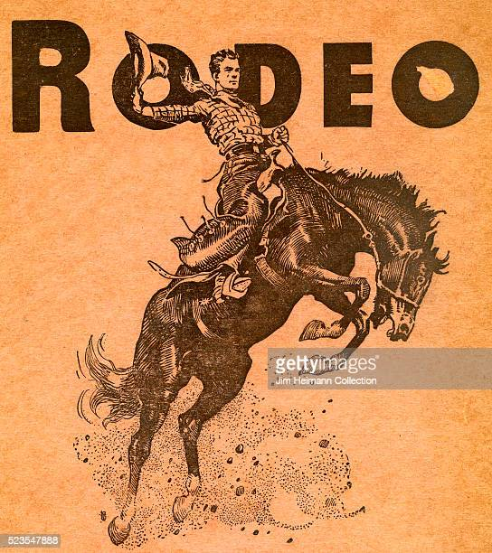 Illustrated rodeo program featuring a cowboy holding on to a bucking bronco
