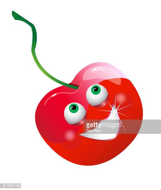 Illustrated smiling cherry