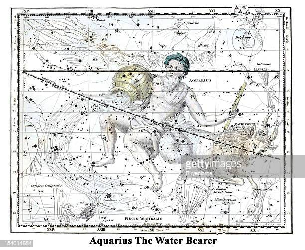 Illustrated starchart shows Aquarius The Water Bearer 1822 Aquarius constellation is located in the southern hemisphere Its name means waterbearer in...