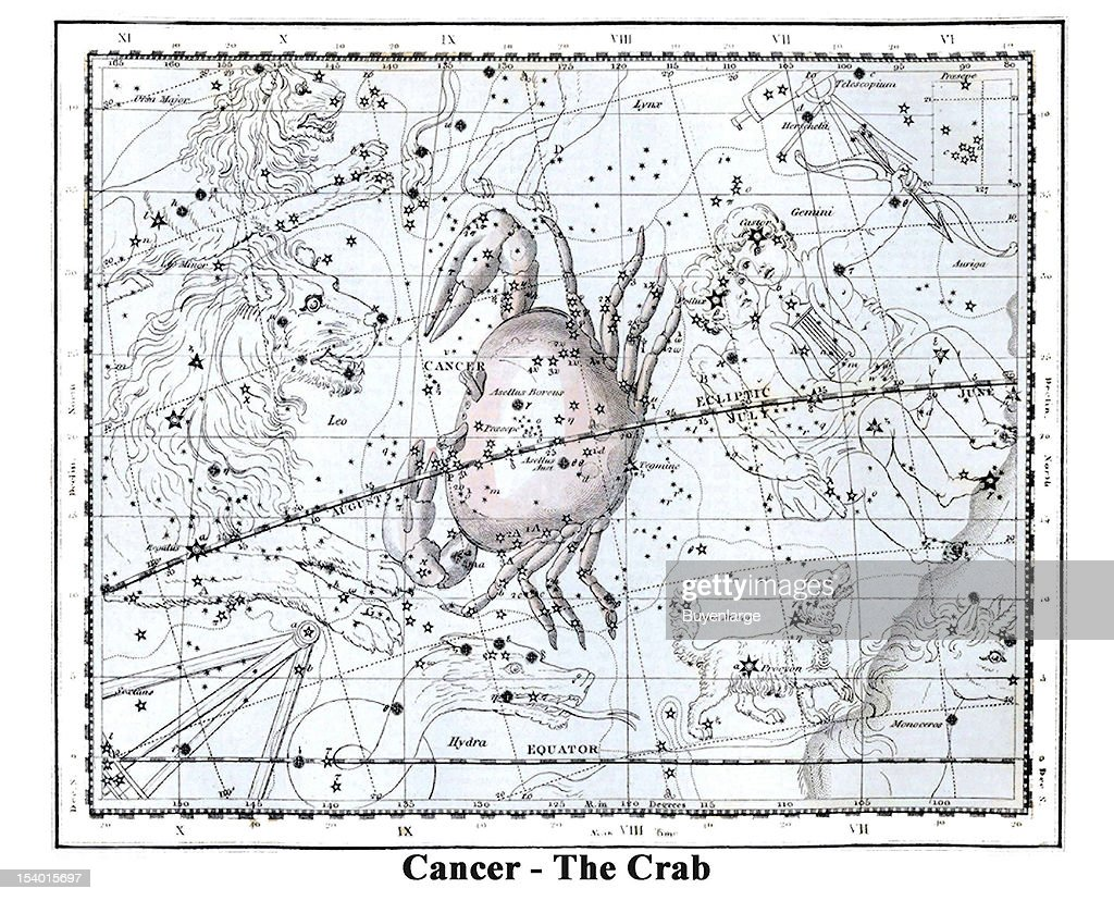 Illustrated starchart shows Cancer - The Crab, 1822  The