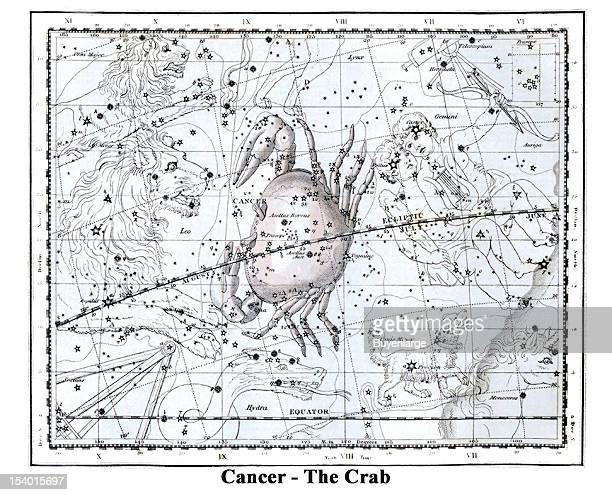 Illustrated starchart shows Cancer The Crab 1822 The Greek mythology of Cancer the Crab is simply a family mess It is hard to imagine that the mighty...