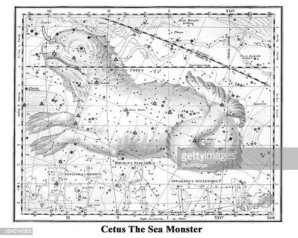 Illustrated starchart shows Cetus The Sea Monster 1822 Cetus is a constellation Its name refers to Cetus a sea monster in Greek mythology although it...