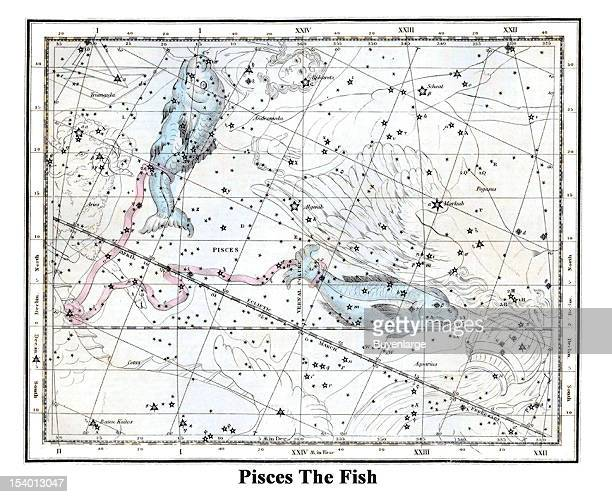Illustrated starchart shows Pisces The Fish 1822 While it is one of the largest and most ancient constellations Pisces is also one of the most...