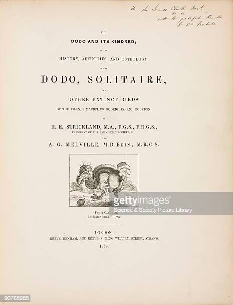 Illustrated title page with a quotation from Horace from Hugh Edwin Strickland�s book on the dodo published in London in 1848 The dodo and solitaire...
