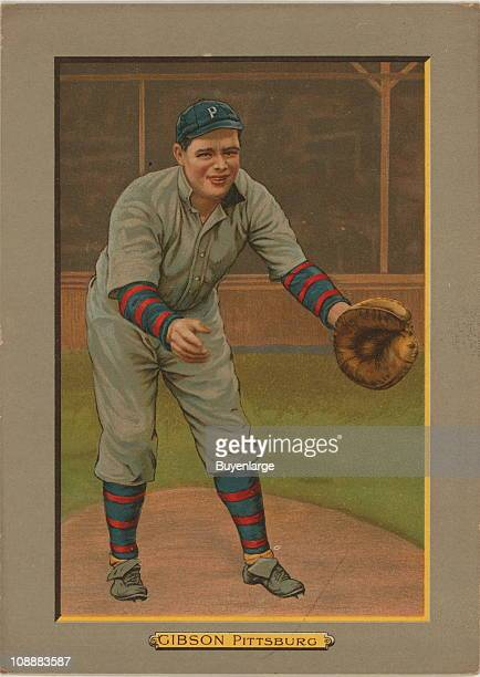 Illustrated trade card depicts American baseball catcher George Gibson of the Pittsburgh Pirates 1911