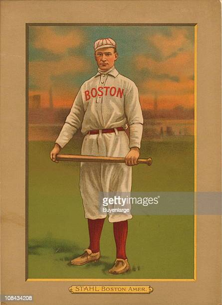 Illustrated trade card depicts American baseball first baseman Jake Stahl of the Boston Red Sox 1911