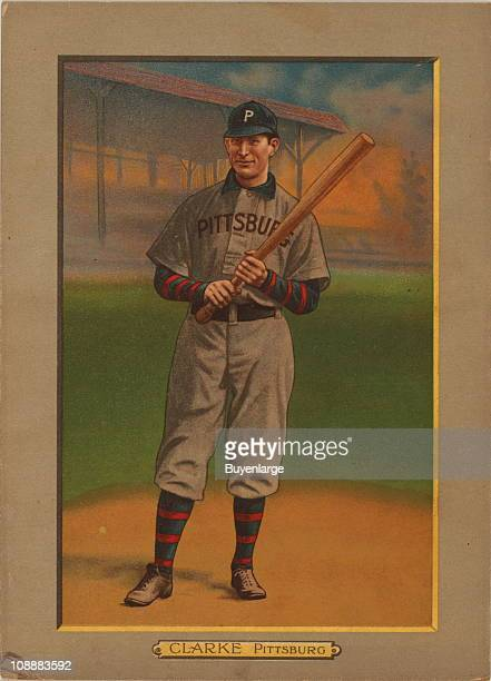Illustrated trade card depicts American Baseball Hall of Fame left fielder Fred Clarke of the Pittsburgh Pirates 1911