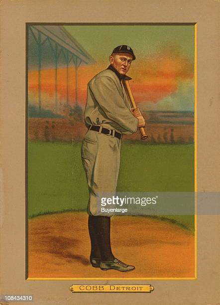 Illustrated trade card depicts American Baseball Hall of Fame baseball player Ty Cobb of the Detroit Tigers, 1911.