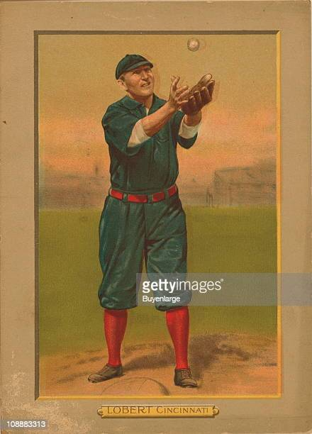 Illustrated trade card depicts American baseball infielder Hans Lobert of the Cincinnati Reds, 1911.