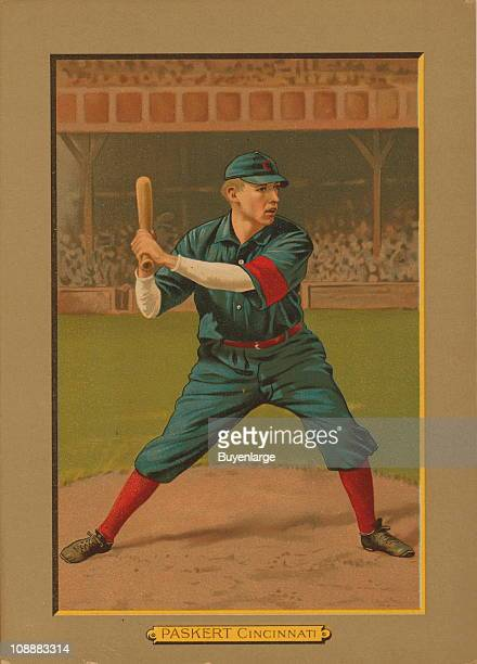 Illustrated trade card depicts American baseball outfielder George 'Dode' Paskert of the Cincinnati Reds 1911