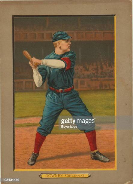Illustrated trade card depicts American baseball second baseman Tom Downey of the Cincinnati Reds, 1911.
