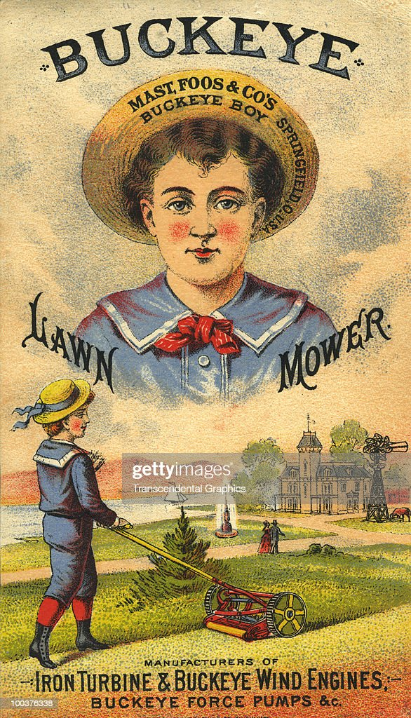 Illustrated trade card for Buckeye-brand lawn mowers, mid 1880s.