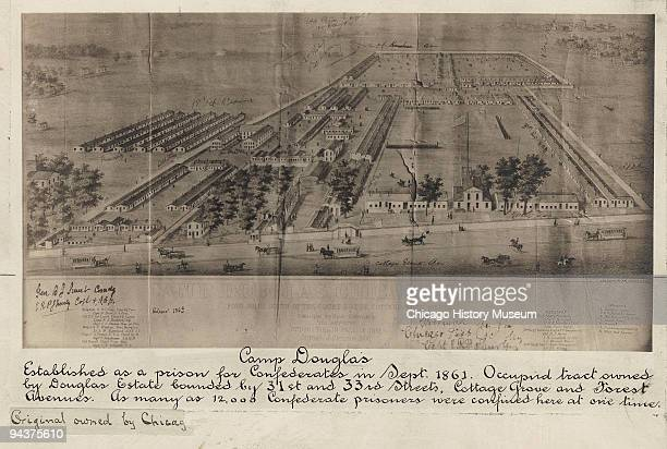 Illustrated view of Camp Douglas the Union prisoner of war camp located in Chicago 1864 The camp was located on 31st street and Cottage Grove Avenue...