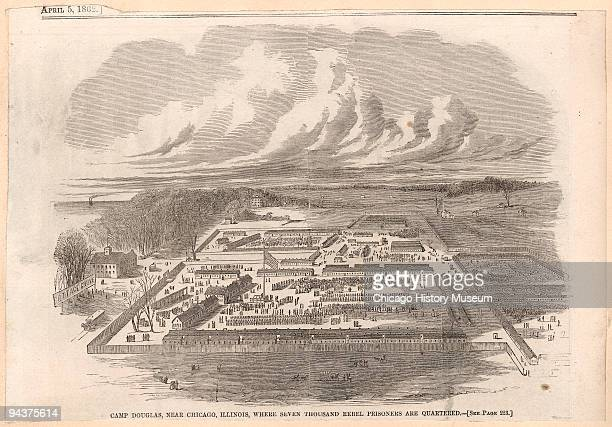 Illustrated view of Camp Douglas the Union prisoner of war camp located in Chicago 1864 Seven thousand Confederate prisoners were housed in the...