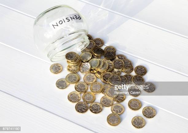 illustrating spending pension leaving no resources. - jar stock pictures, royalty-free photos & images