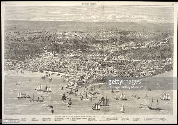 Illustratio n from Harper's Weekly of a bird'seye view of Chicago Chicago Illinois October 21 1871