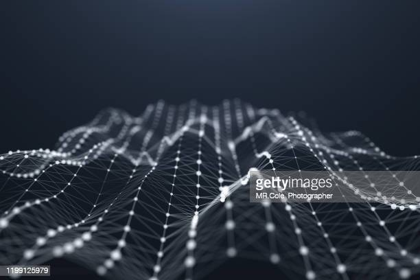illustration abstract background futuristic design, wave shape data connected line and dots,futuristic digital background for business science and technology - connect the dots stock pictures, royalty-free photos & images