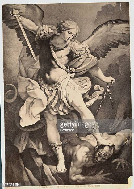 Illustration after a painting by Guido Reni of Saint Michael the Archangel