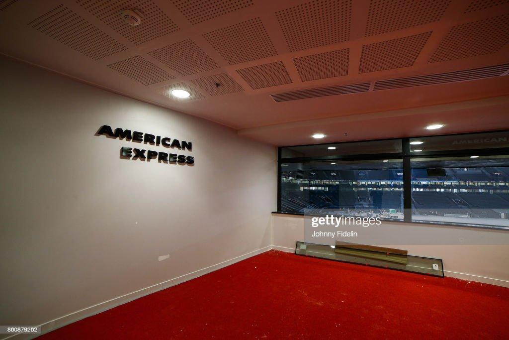 Illustration American Express Room during a visit of U Arena at U Arena on October 13, 2017 in Nanterre, France.