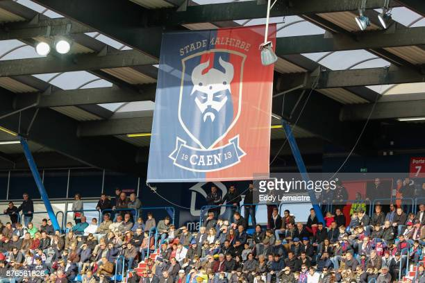 Illustration banner and supporters of Caen during the Ligue 1 match between SM Caen and OGC Nice at Stade Michel D'Ornano on November 19 2017 in Caen