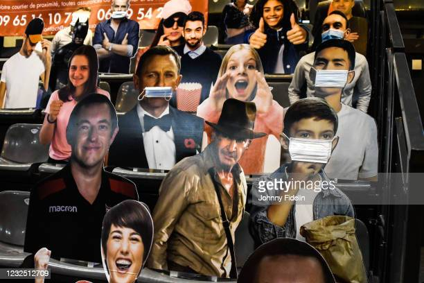 Illustration Boxhead cutouts, Harrisson FORD in Indiana JONES and Daniel CRAIG in James BOND during the Ligue A, final match between Cannes and...