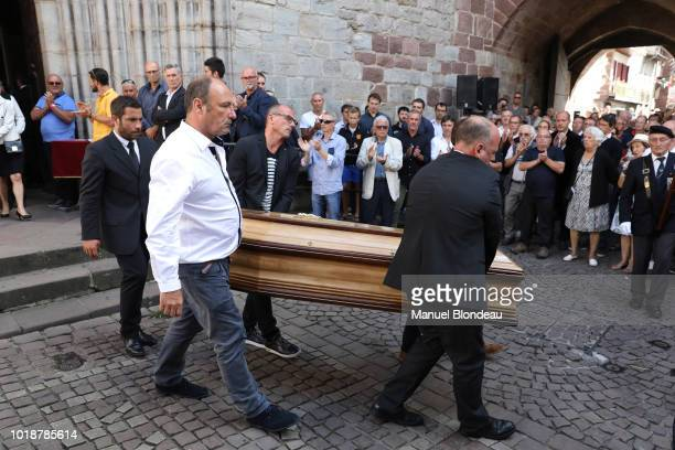 Illustration burial of Pierre Camou in Saint Jean Pied de Port during the Funeral of former rugby player Pierre Camou on August 18 2018 in...