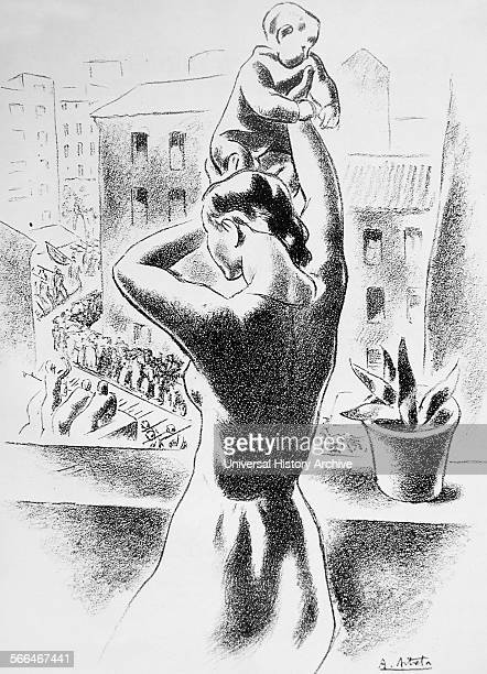 Illustration by A Aitrera depicting a woman holding a baby on an apartment balcony in Madrid as crowds below watch soldiers marching to the defence...
