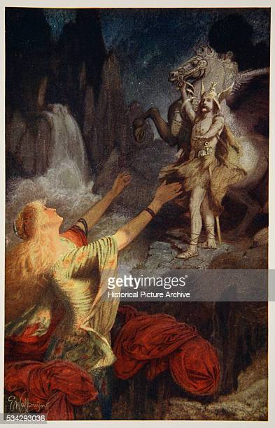 'Illustration by Ernest Wallcousins from ''Teutonic Myths and Legends'' by Donald A Makenzie circa 1890 Color lithograph Located in a private...