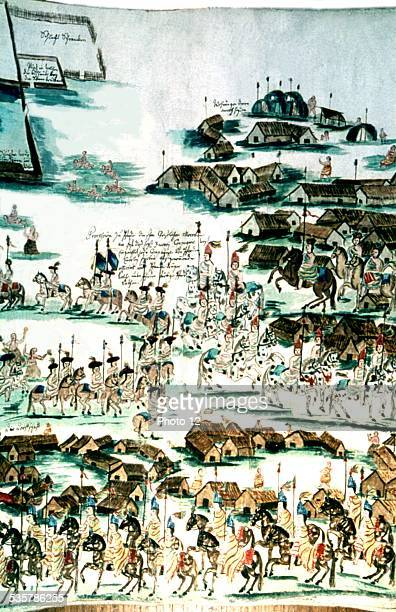 Illustration by Florian Baucke Zwettler Codex Life of Guarani Indians seen by a Jesuit father Military parade at San Javier Reduction of Mocobi...