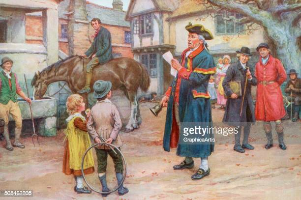 Illustration by Frank Dadd of an early American town crier reading the news to the townsfolk Screen print c 1925