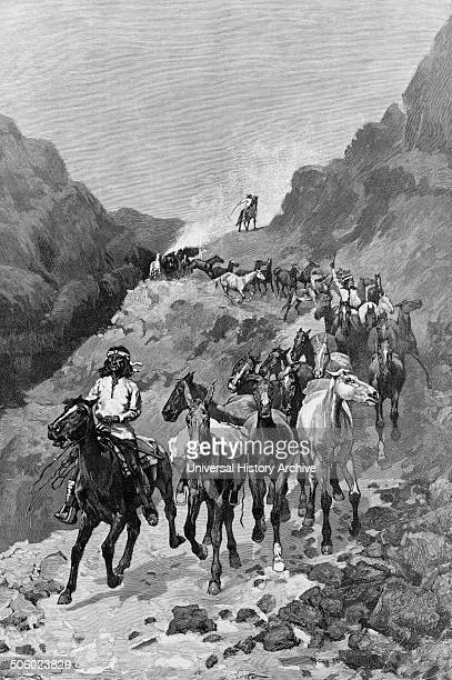 Illustration by Frederick Remington of Geronimo and his band returning from a raid into Mexico Dated 1888 Photo by