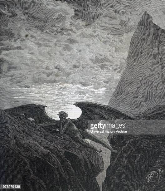 Illustration by Gustave Dor_ for the 1866 edition of John Milton's Paradise Lost Satan resting on the mountain Gustave Dor_ a French artist...
