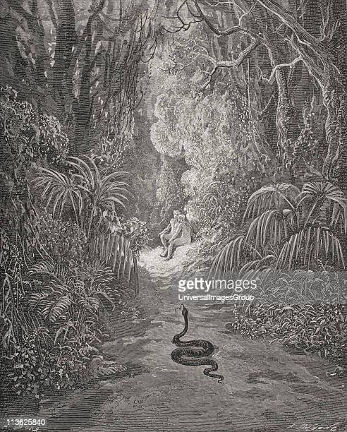 Illustration by Gustave Dore 18321883 French artist and illustrator for Paradise Lost by John Milton Book IX lines 434 and 435