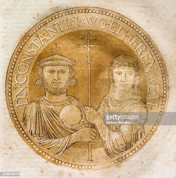Illustration by Hubert Goltzius from his work Vivae Omnium Fere Imperatorum Imagines Antwerp 1557 of a Chiaroscuro medallion portrait woodcut of...