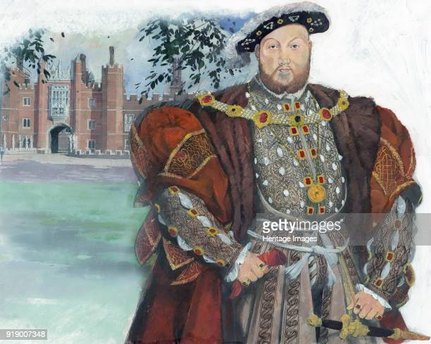 Illustration by Ivan Lapper depicting King Henry VIII of England based on the portrait of Henry by Hans Holbein the Younger In the background is the...