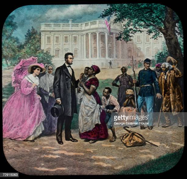 Illustration by Jean Leon Gerome Ferris shows American President Abraham Lincoln as he stands with a group of former slaves outside the White House...