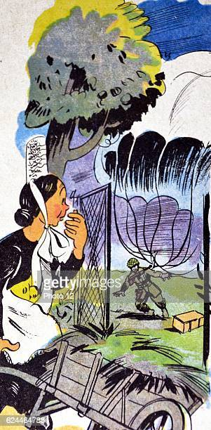 Illustration by Loys Petillot celebrating the struggle for liberty in Alsace Lorraine at the end of world war Two A local woman looks on as an...