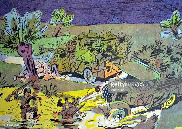Illustration by Loys Petillot celebrating the struggle for liberty in Alsace Lorraine at the end of world war Two German army vehicles and soldiers...
