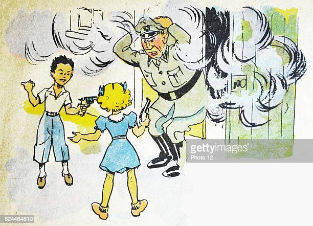Illustration by Loys Petillot celebrating the struggle for liberty in Alsace Lorraine at the end of world war Two French children take a German...