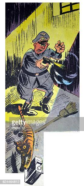 Illustration by Loys Petillot celebrating the struggle for liberty in Alsace Lorraine at the end of world war Two A German officer fires his pistol...