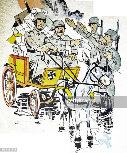 Illustration by Loys Petillot celebrating the struggle for liberty in Alsace Lorraine at the end of world war Two German soldiers salute a passing...
