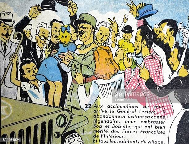 Illustration by Loys Petillot celebrating the struggle for liberty in Alsace Lorraine at the end of world war Two General Leclerc is greeted as he...