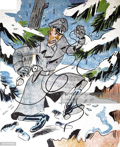 Illustration by Loys Petillot celebrating the struggle for liberty in Alsace Lorraine at the end of world war Two A German officer is enraged as he...