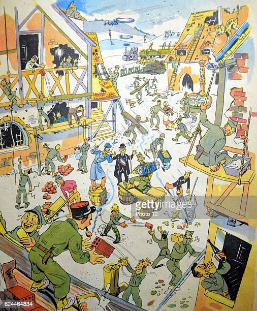 Illustration by Loys Petillot celebrating the struggle for liberty in Alsace Lorraine at the end of world war Two French and American soldiers work...
