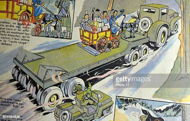 Illustration by Loys Petillot celebrating the struggle for liberty in Alsace Lorraine at the end of world war Two American transporter vehicle...