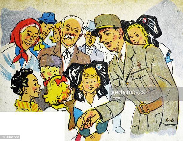 Illustration by Loys Petillot celebrating the struggle for liberty in Alsace Lorraine at the end of world war Two General de Gaulle greeted by...