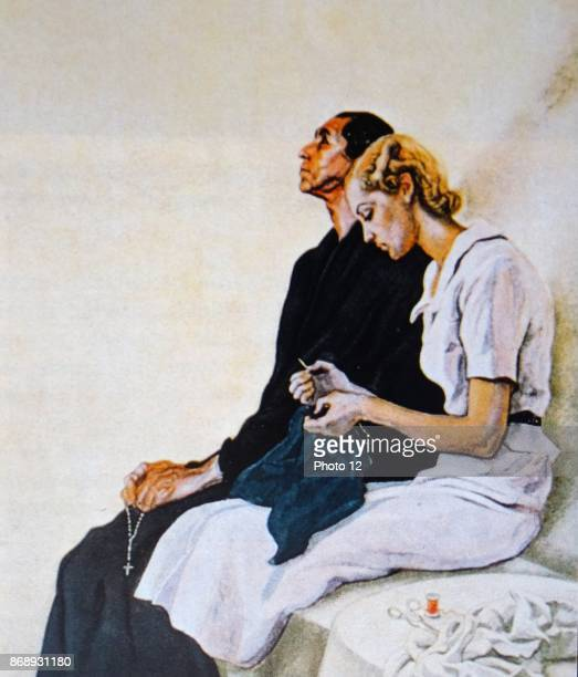 Illustration by Saenz de Tejada showing a mother and a wife waiting anxiously for news of their men folk during the Spanish Civil War