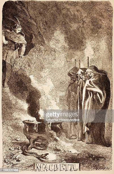 Illustration By Sir John Gilbert For Macbeth Of The Witches Around Their Cauldron From The Illustrated Library Shakspeare Published London 1890